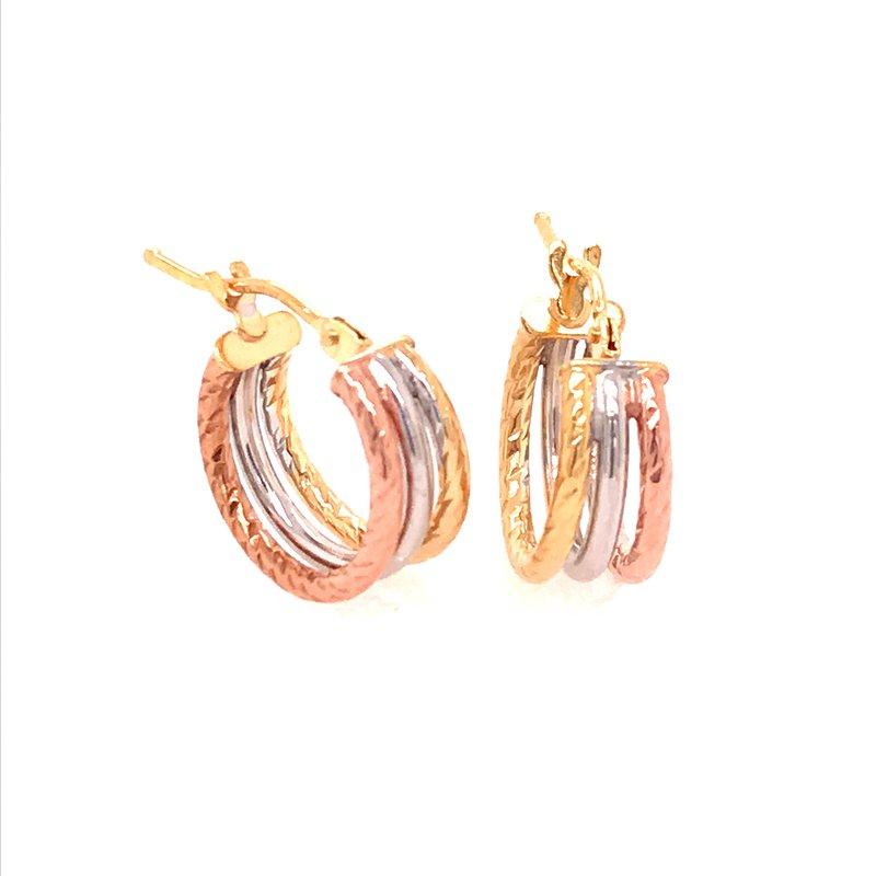 Gold Fashion Triple Hoop Earrings