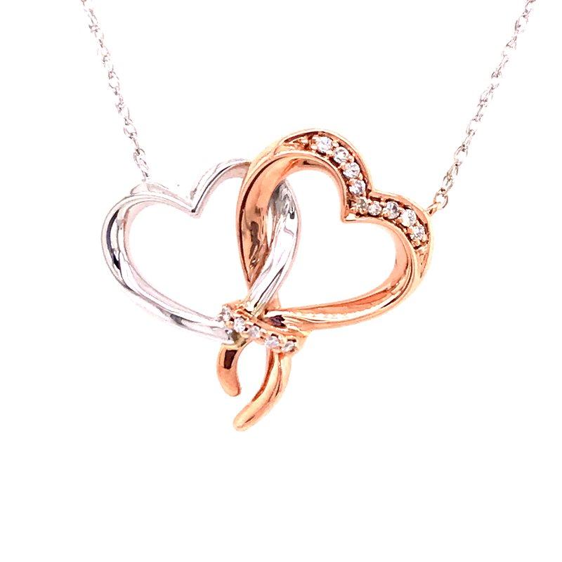 Diamond Fashion Double Heart Pendant