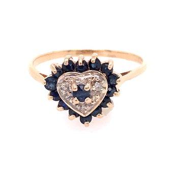 Blue Sapphire Heart Fashion Ring