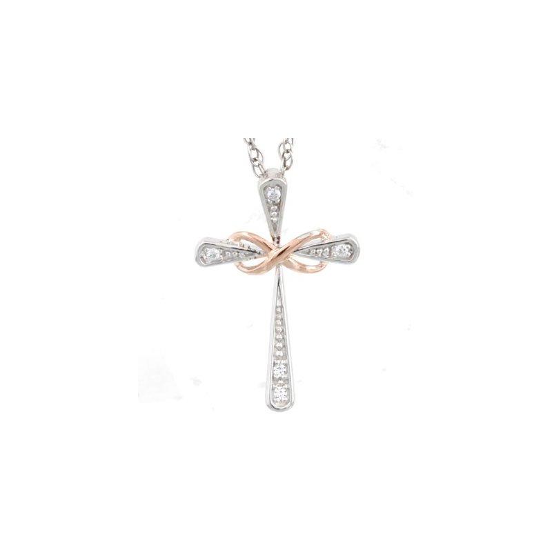 Diamond Fashion Two Tone Cross Pendant