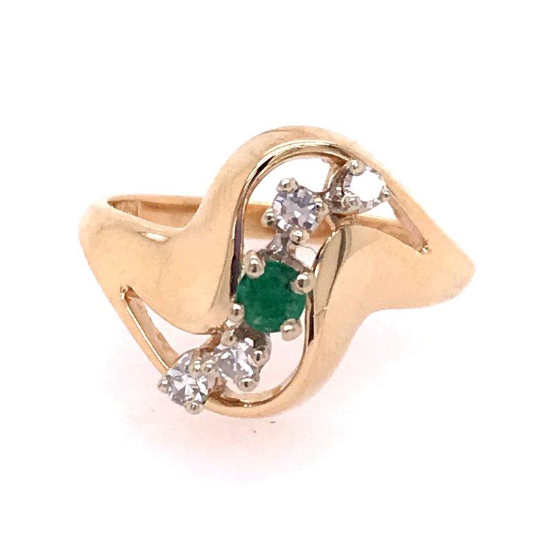 Estate Emerald and Diamond Fashion Ring