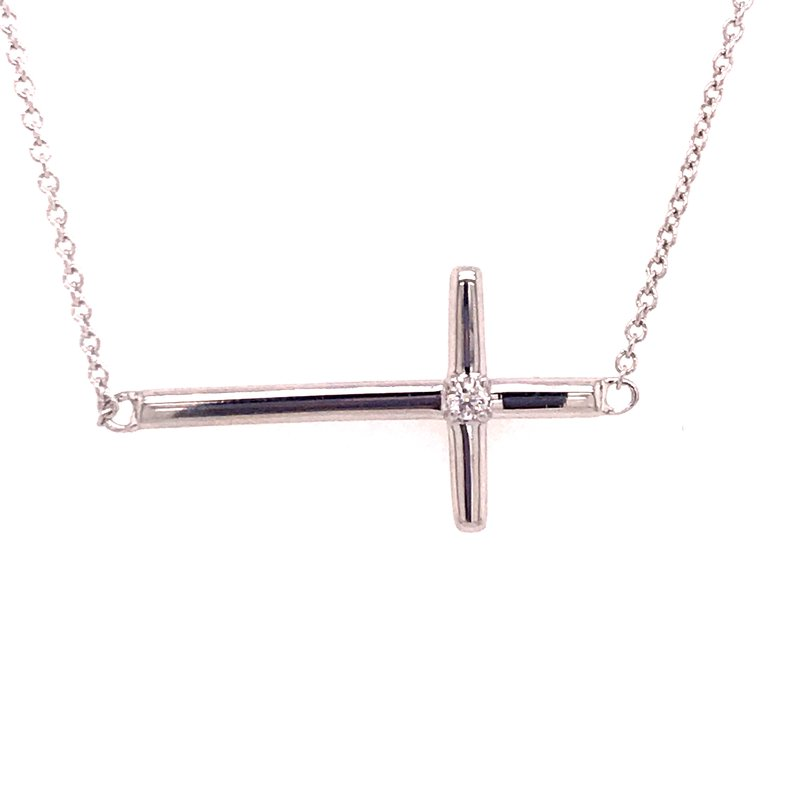 Diamond Fashion Sideways Cross Pendant