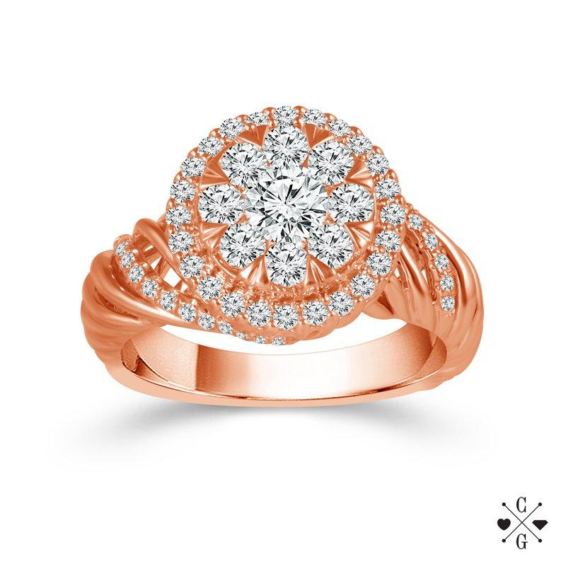 Diamond Fashion Cluster Swirl Ring