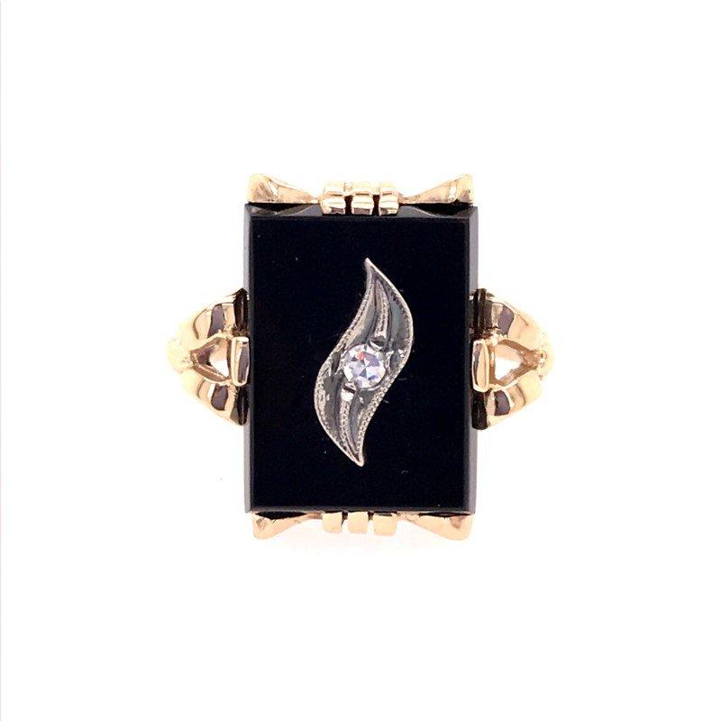 Estate Onyx and Diamond Ring