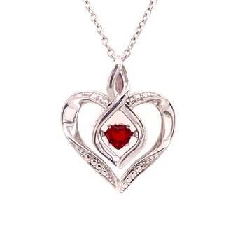 Created Garnet & Diamond Pendant