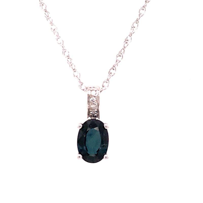 Colored Stone Fashion Blue Sapphire & Diamond Pendant