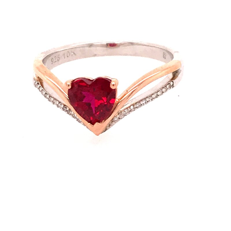 Created Heart Ruby Fashion Ring