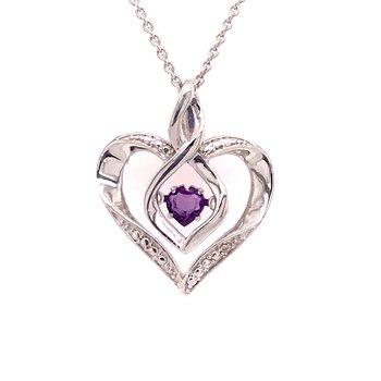 Created Amethyst & Diamond Pendant
