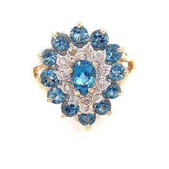 Blue Topaz and Diamond Fashion Ring