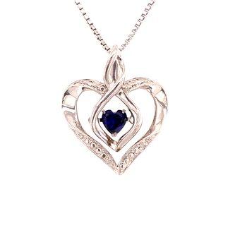 Created Sapphire & Diamond Pendant