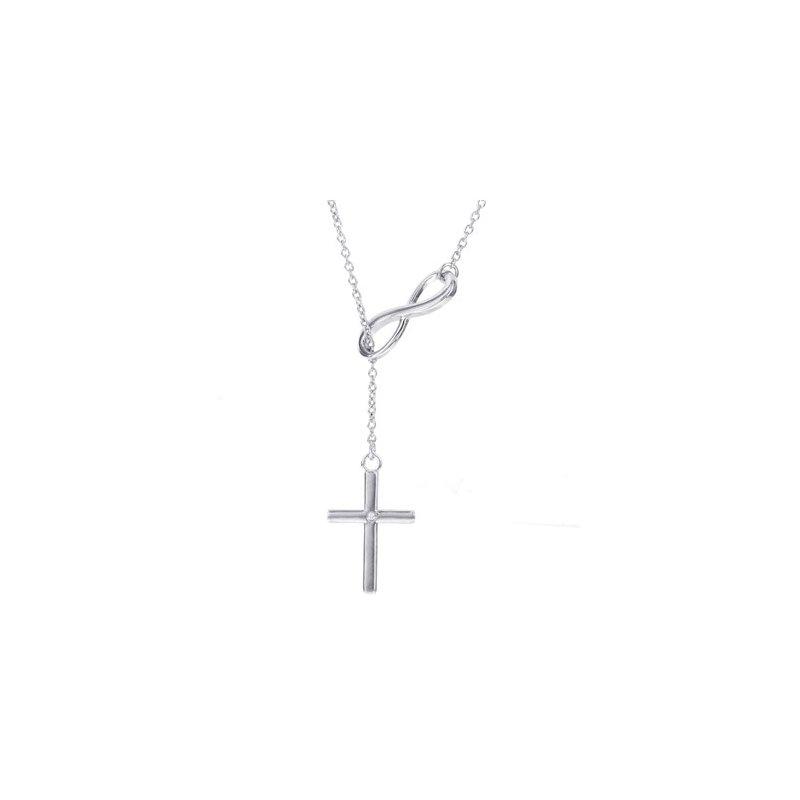 Diamond Fashion Infinity and Cross Pendant