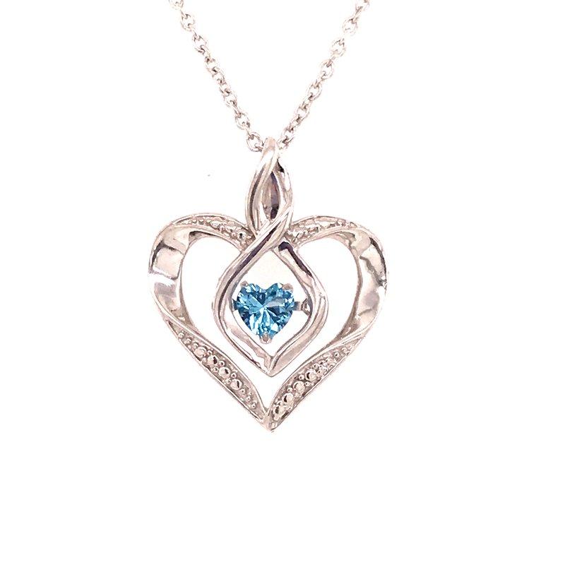 Colored Stone Fashion Blue Topaz and Diamond Pendant