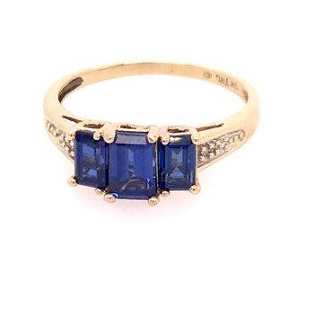 Created Blue Sapphire Fashion Ring