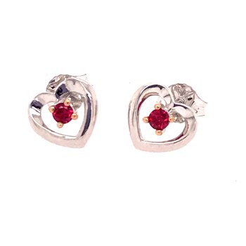 Created Ruby Heart Earrings