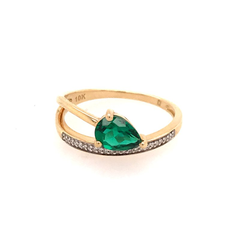Colored Stone Fashion Created Emerald Fashion Ring