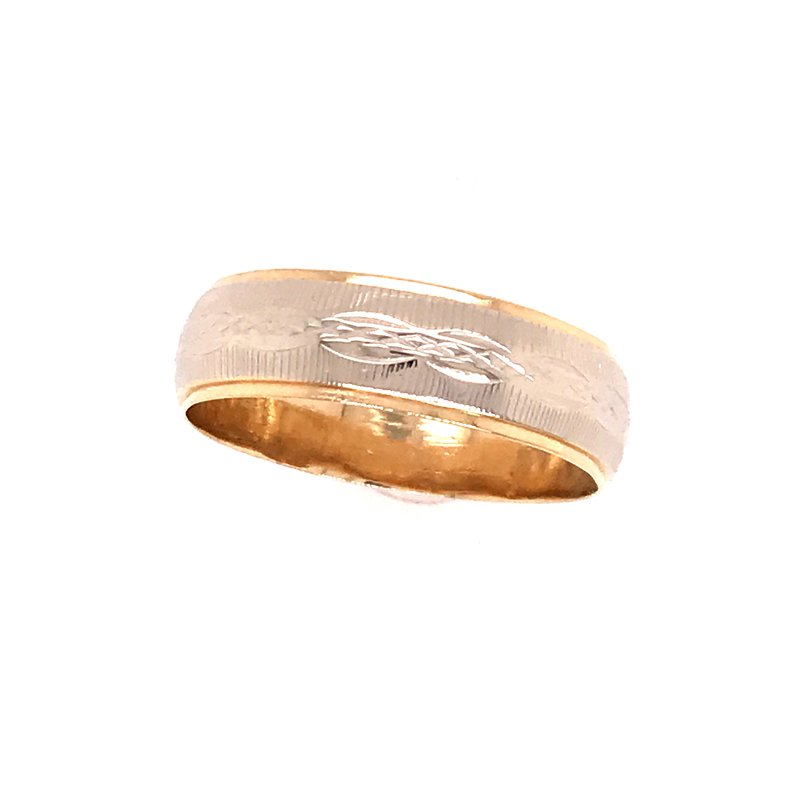 Estate Two Tone Carved Band