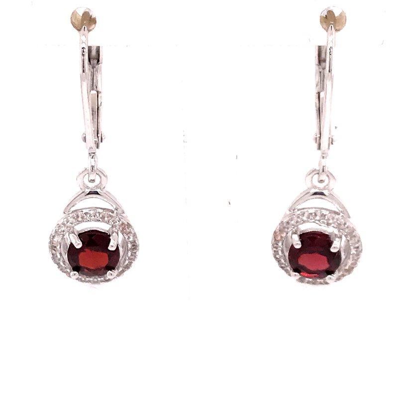 Colored Stone Fashion Garnet Earrings