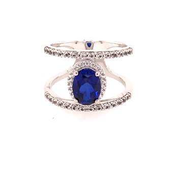 Created Blue Sapphire Fashion Ring