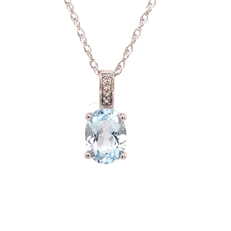Colored Stone Fashion Aquamarine & Diamond Pendant