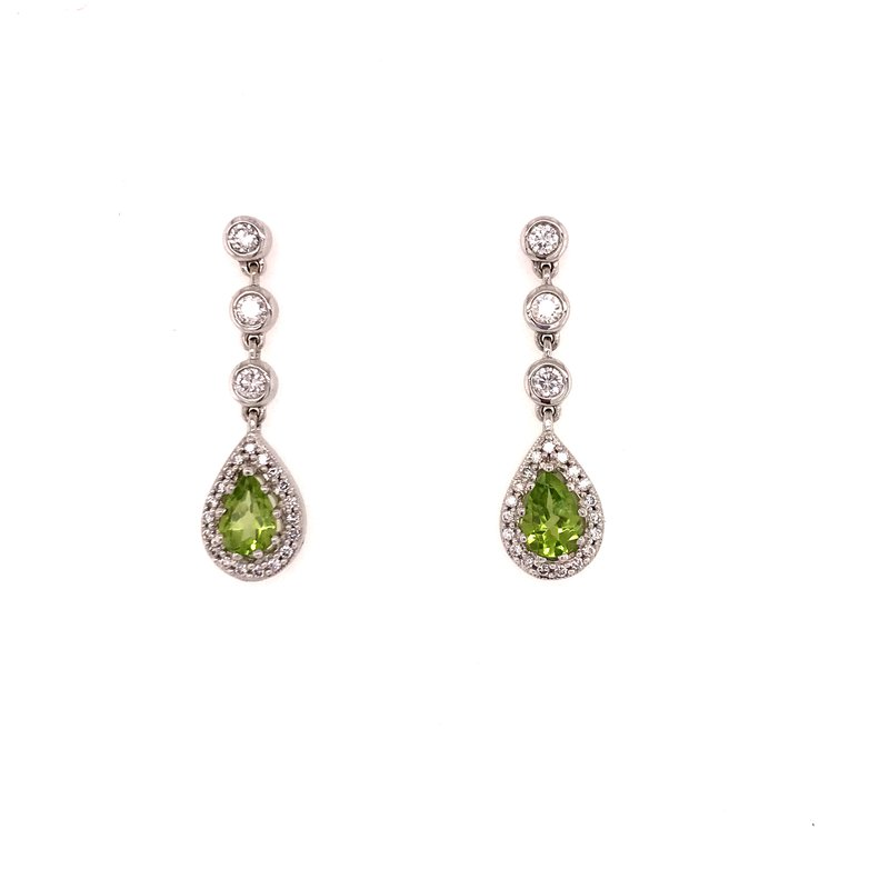 Colored Stone Fashion Peridot and Diamond Earrings