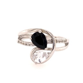 Onyx and Created White Sapphire Ring