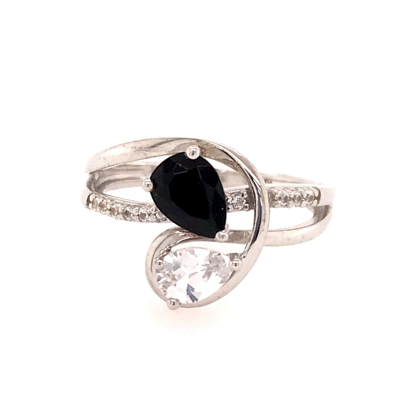 Colored Stone Fashion Onyx and Created White Sapphire Ring