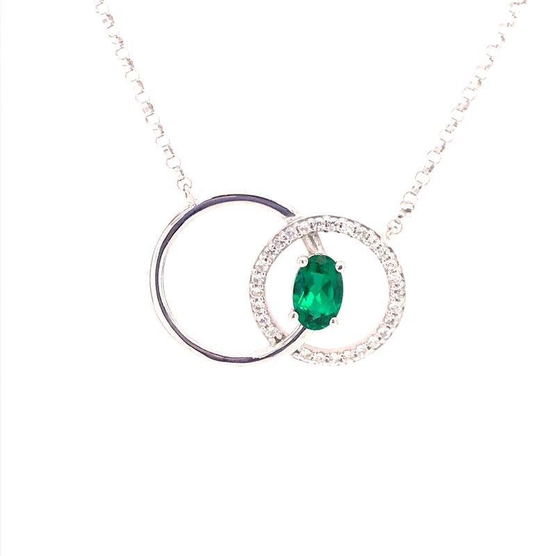 Colored Stone Fashion Created Emerald and Diamond Pendant