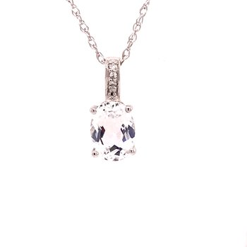 White Topaz & Diamond Pendant
