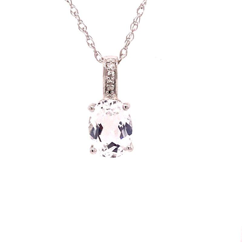 Colored Stone Fashion White Topaz & Diamond Pendant