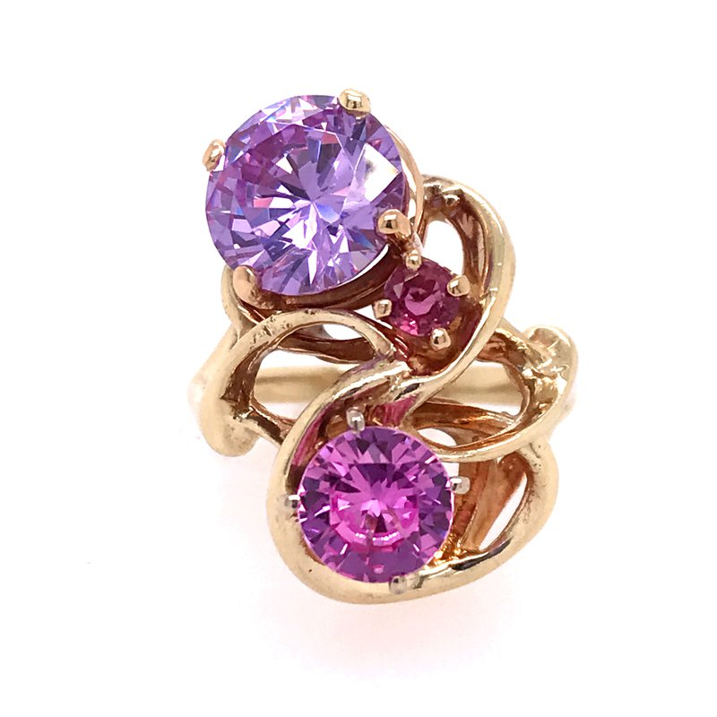 Colored Stone Fashion Purple & Pink Freeform Ring