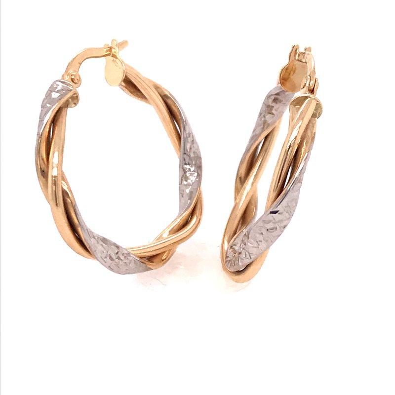Gold Fashion Two Tone Hoop Earrings