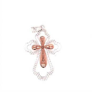 Two Tone Double Cross Pendant