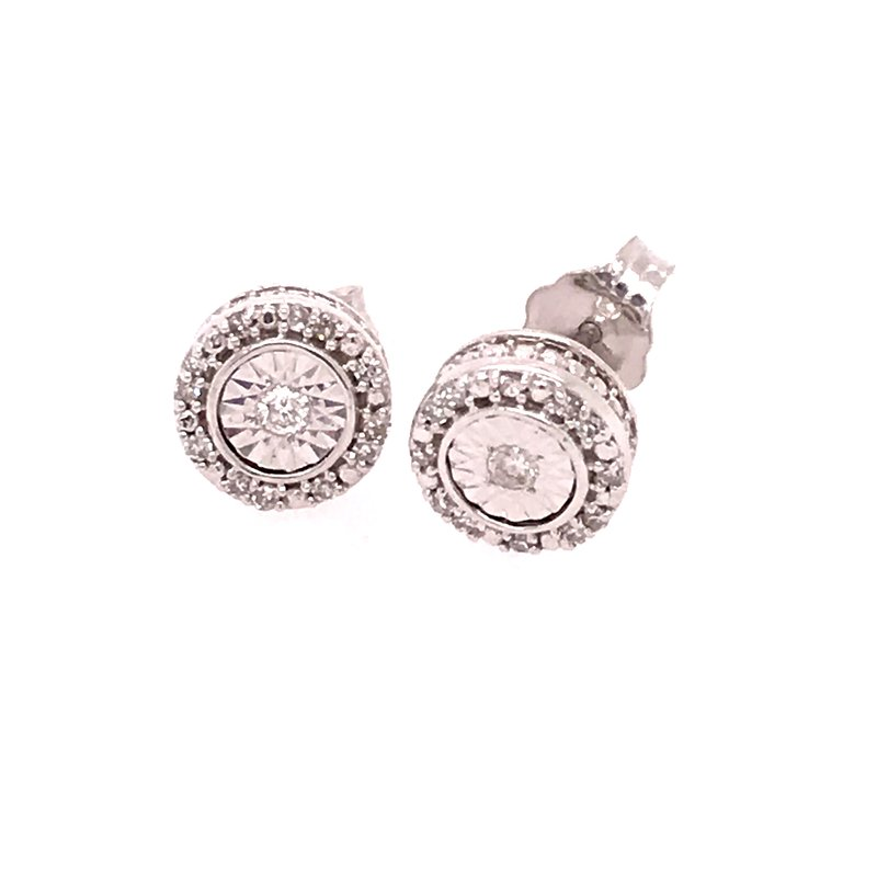 Diamond Fashion Round Stud Earrings