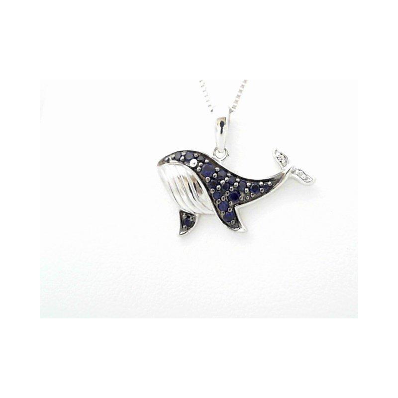Colored Stone Fashion Whale Pendant