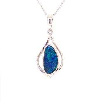 Blue Boulder Opal Pendant