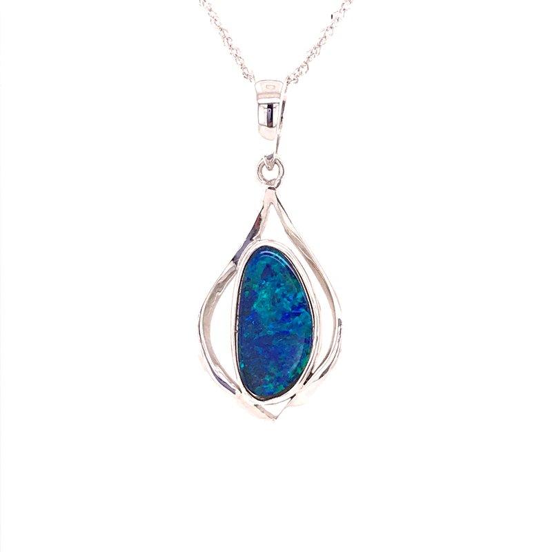 Colored Stone Fashion Blue Boulder Opal Pendant