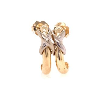 Two Tone J Style Fashion Earrings