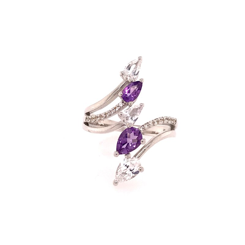 Colored Stone Fashion Amethyst and White Topaz Ring