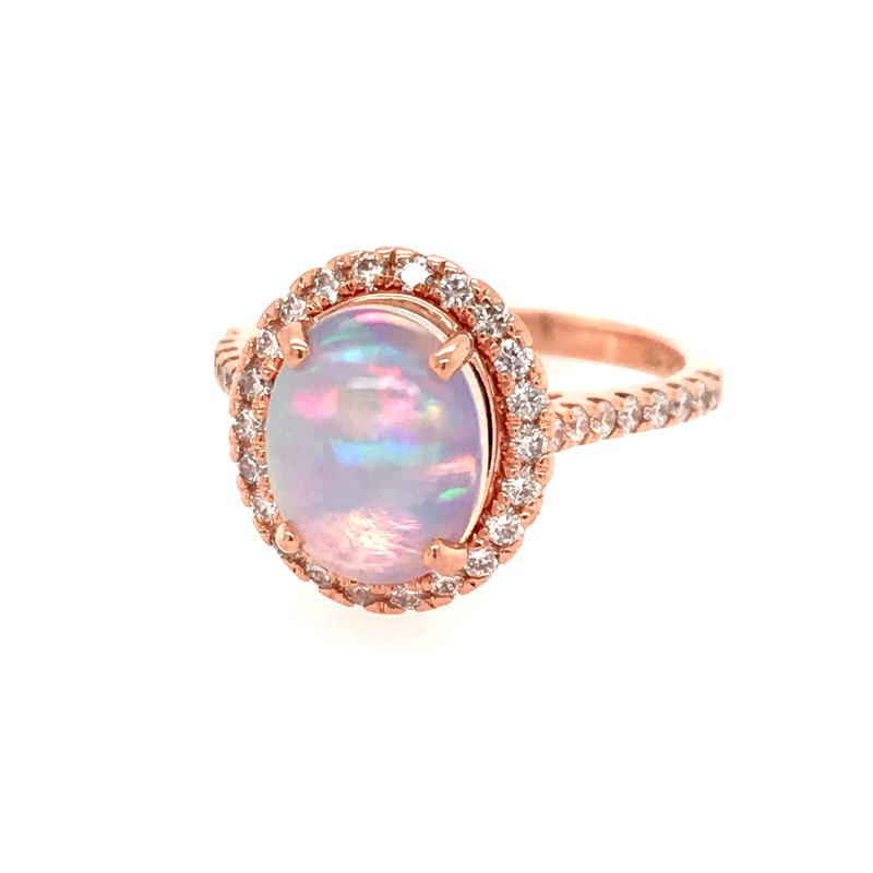 Colored Stone Fashion Opal and Diamond Fashion Ring