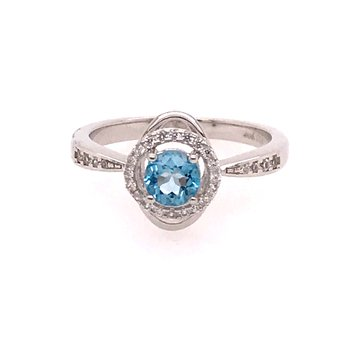 Blue Topaz & White Zircon Ring