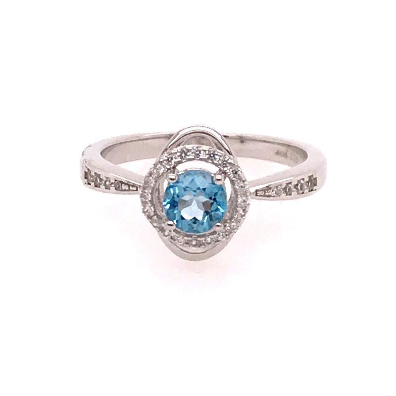 Colored Stone Fashion Blue Topaz & White Zircon Ring