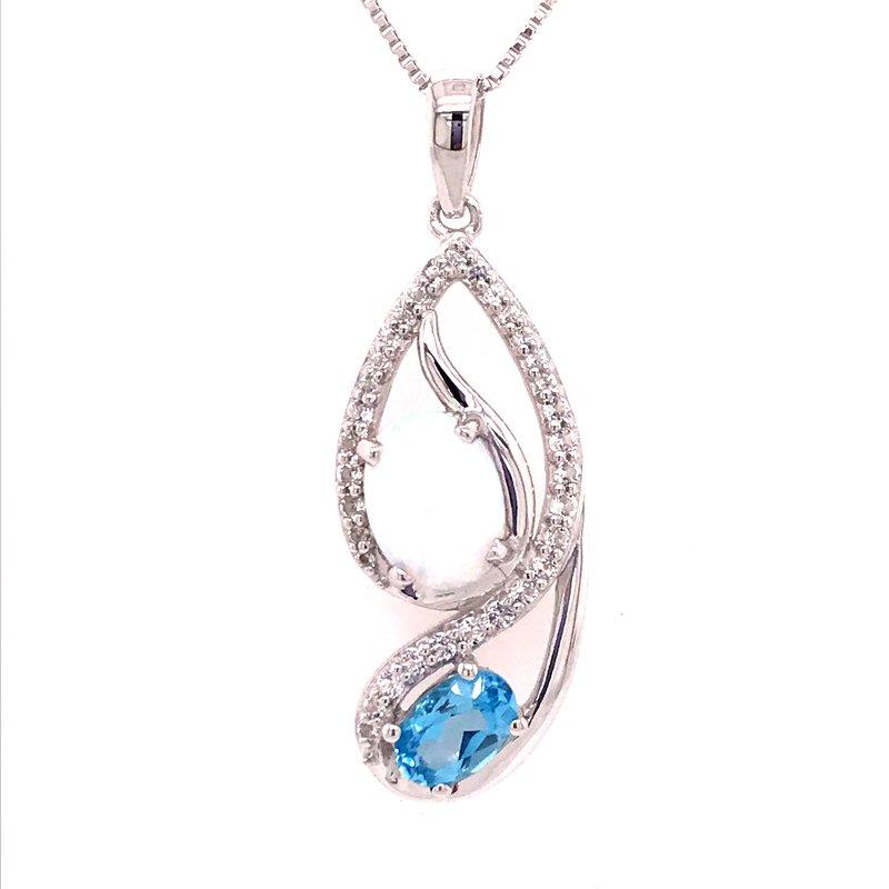 Colored Stone Fashion Blue Topaz and Created Opal Pendant