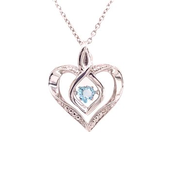 Created Aquamarine & Diamond Pendant