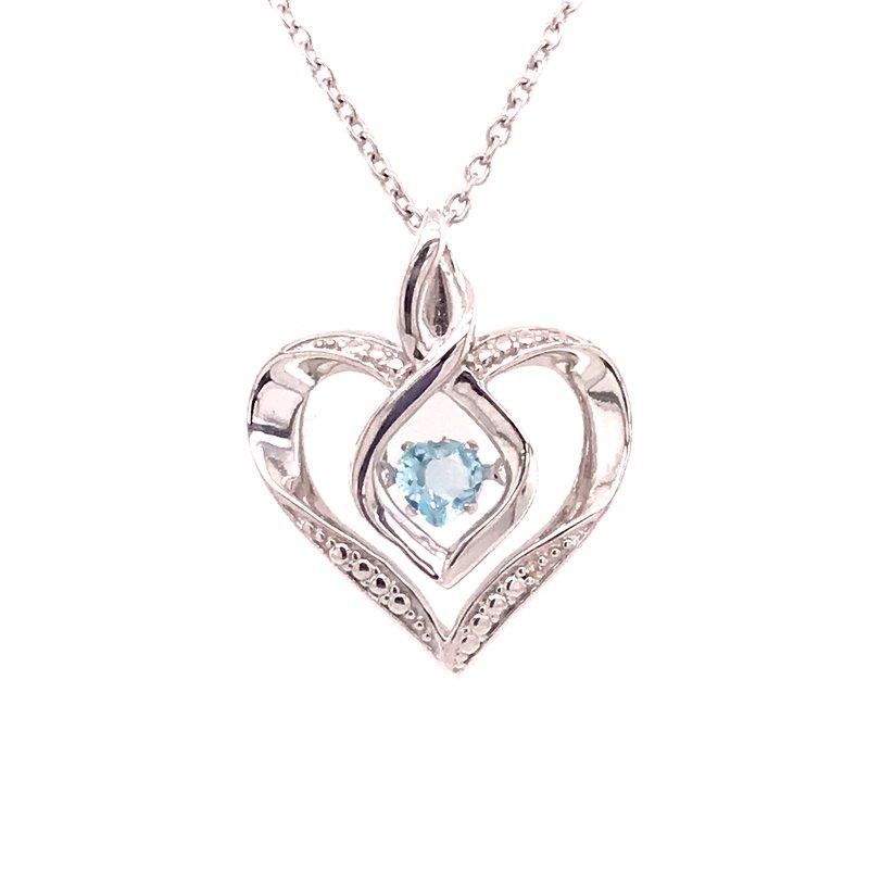 Colored Stone Fashion Created Aquamarine & Diamond Pendant