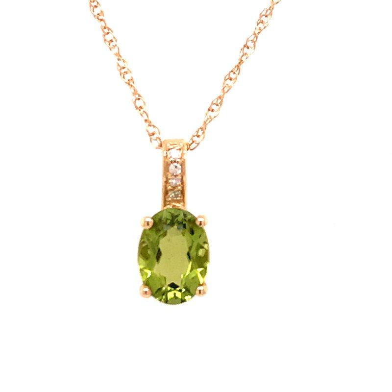 Colored Stone Fashion Peridot & Diamond Pendant
