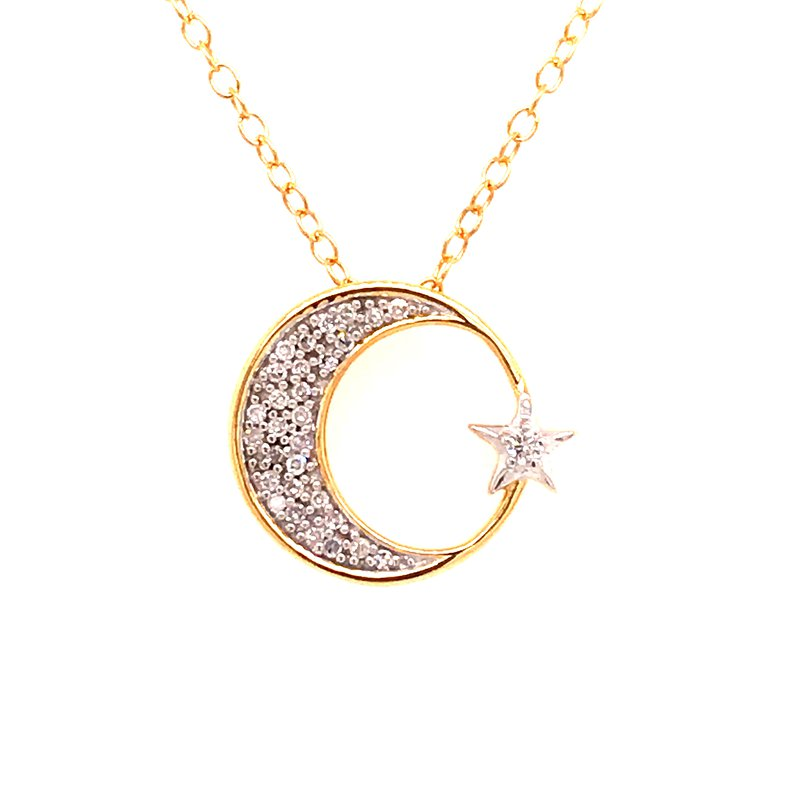 Diamond Fashion Crescent Moon Diamond Pendant