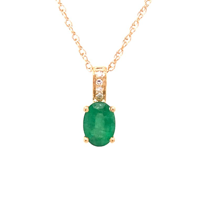 Colored Stone Fashion Emerald & Diamond Pendant