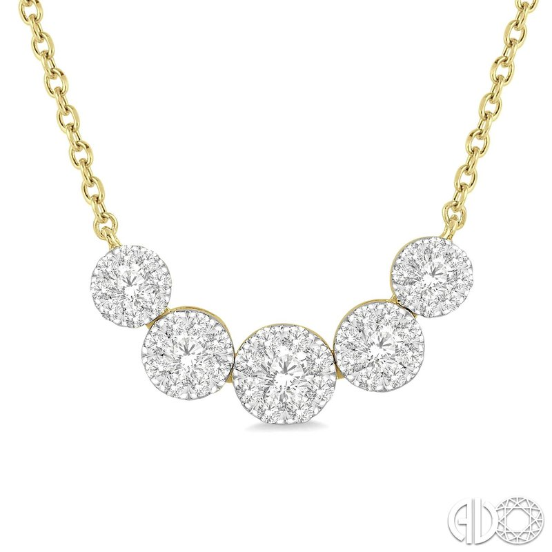 Diamond Fashion Cluster Journey Pendant Necklace