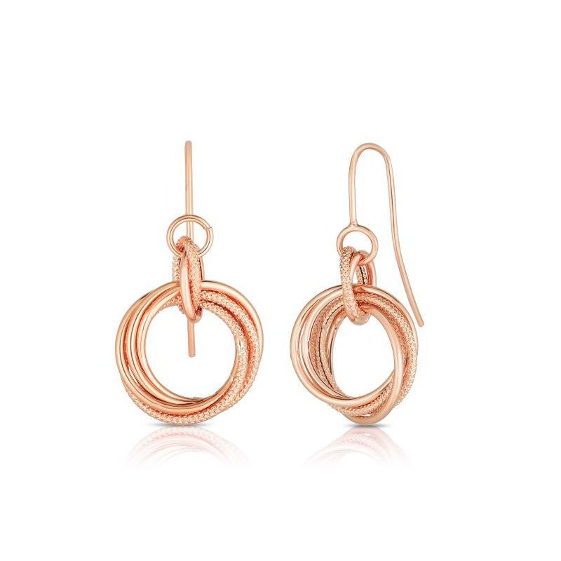 Colored Stone Fashion Triple Circle Earrings