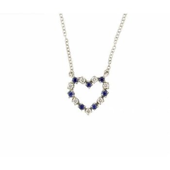 Sapphire and Diamond Open Heart Pendant